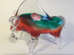 Vintage Large Murano Glass Summerso red and Green Bull