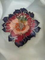 Vintage Purple Red Cloisonne Enamel  Petal Silver Tone Metal Flower Brooch Pin