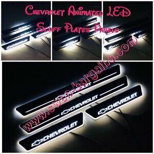 4pcs WHITE Chevrolet Animated Moving LED Light Door Sill Scuff Plates Protector