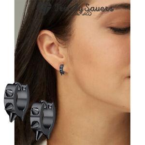Huggie Spike Earrings Mens Black Stainless Steel Small Hoop Earring For Women