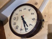 Large Smiths Sectric Bakelite Circular Office Wall Clock. Working