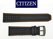 Citizen Eco-Drive CA0467-11H 23mm Black Leather Watch Band w/ Orange Stitching