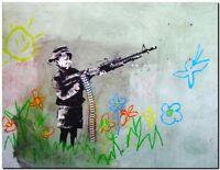 """BANKSY STREET ART CANVAS PRINT Boy with crayon gun 24""""X 36"""" stencil poster"""