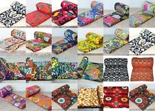 Indian Handmade Twin Vintage Cotton Bed Cover Cotton Kantha-Blanket-Quilt-Throw