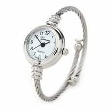 6581 New Geneva Silver Cable Band Women's Small Size Bangle Watch