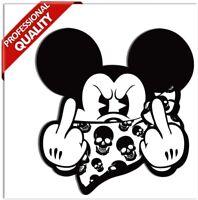 2 Aufkleber Bad Micky Mickey Maus JDM Mittelfinger Stickers Auto Motorrad B 34