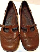 Born Women's Brown Mary Jane Leather Low Heel Shoe Loafer Sz 9 GUC