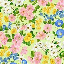 Wilmington Flights of Fancy 28093 735 Green Flowers BTY Cotton Fab FREE US SHIP