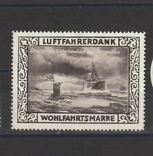 German Poster Stamp Luftfahrerdank Ship Submarine
