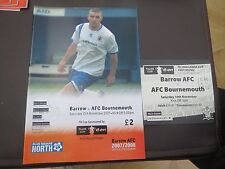 Barrow v Bournemouth   FA Cup  2007/8 with Ticket