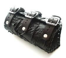 Black Leather Vambrace Gaunlet Cuff Wristband Steampunk Reenactment-Arm Guard