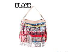 new AUTHENTIC VERSACE FRINGED LEATHER BAG  ( BLACK )