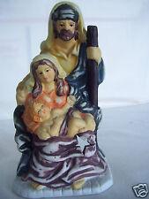 Nativity Mary Joseph & Baby Jesus Ceramic Votive Candle Holder Figurine
