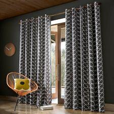 Orla Kiely Linear Stem Charcoal Eyelet Curtains 229cm W X 229cm Drop