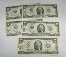 1976 $2 Dollar Notes 1st Day Issue Loop Station Chicago Consecutive Notes PC-580