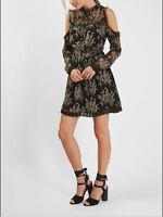 TOPSHOP New Black Pink Floral Cold Shoulder Lace Mini Dress Size 6 8 RRP=£55