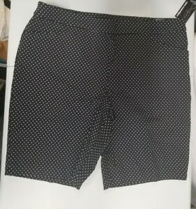 George Women's Black with White Polka Dot Bermuda Shorts XXL (20) Ladies 2XL