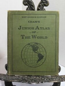 Cram's Junior Atlas Of The World 1911 1912 New Census Edition States Countries