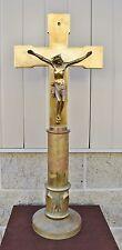 "+ Antique Brass Church Altar Cross 31 1/4"" tall (CU515) + chalice co. Catholic"