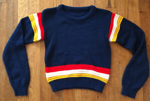 VTG 70s Kid's Acrylic Knit Pullover Sweater, Navy & Stripes, Size 6-7 Yrs Unisex