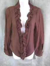 August Silk Blouse Size 4 Sheer Ruffled Button Front Deep V-Neck Silk Blend NWT