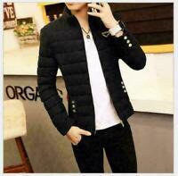 Men's Winter Collar Thick Padded Jacket Zipper Slim Outwear Coat Warm Fashion
