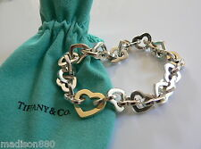 Tiffany & Co Silver 18K Gold Heart Link Bracelet Bangle Rare 7.75 inches Classic