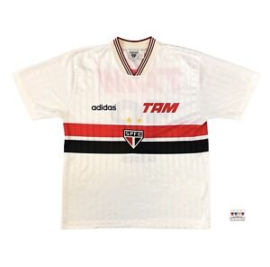 Sao Paulo 1995/96 Home Soccer Jersey XL Adidas #18 Brazil