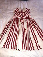 ANTHROPOLOGIE ODILLE Dress Regatta Strapless Red & White Size 2 Strapless Summer