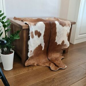 Genuine Quality Goat skin Rug, Hide, Pelt, Animal Skin, Cowhide , Brown & White