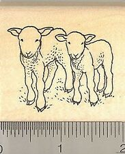 Lamb Pair rubber stamp F8601 wood mounted Sheep