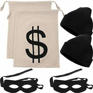 6 Pieces Robber Costume Set Include Canvas Dollar Sign Money Bags Bandit Eye Mas