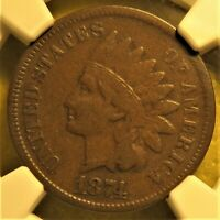 1874 Indian Head Cent graded VF25 by NGC