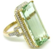 Genuine 13.45ct Green Amethyst & 74 Diamond 9K 9ct 375 Solid Yellow Gold Ring