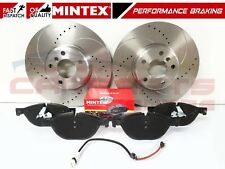 FOR BMW 530d F10 F11 FRONT DRILLED GROOVED COATED BRAKE DISCS MINTEX PADS 348mm