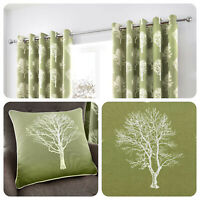 Fusion WOODLAND TREES Green 100% Cotton Eyelet Ring Curtains & Cushions