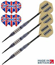 BLACK COATED STEEL TIP DARTS STARTER SET + 2 FREE SETS of SPARE DART FLIGHTS