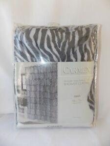 "Carmen Crushed Voile Shower Curtain Zebra Pattern Black White Polyester 70 x 72"""