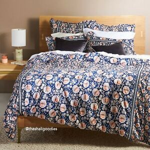 ANTHROPOLOGIE Embellished Windflower Duvet Cover QUEEN Size Blue Floral NWT