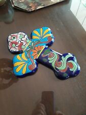 Mexican Talavera Wall Cross  Hand Painted Ceramic
