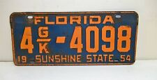 1954 54 FL License Plate 4 G/K-4098 Commercial Truck 3051-5050 lbs. Pinellas