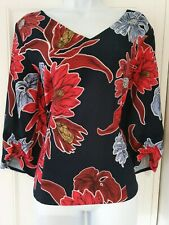 Womens M&S Collection Blue Red Floral Ruched Sleeves Fitted Blouse Top 14 New.
