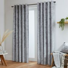 Crushed Velvet Curtains Pair Eyelet Ring Top Fully Lined- Black - Silver - White