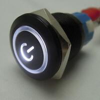 19mm 12V KFZ Schalter Drucktaster Taster Druckschalter LED Beleuchtet Weiß HY