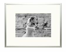 8x10Aluminum Silver Frame with Ivory Color Mat for 5x7 Picture,Table-top Display