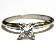 GIA 14k white gold .51ct SI1 H Princess diamond solitaire engagement ring 2g