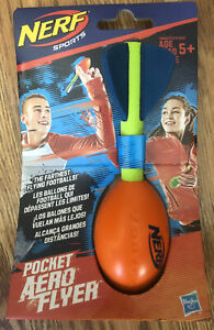 New Nerf Sports Pocket Size Aero Flyer Football Orange, Ships In Bubble Mailer