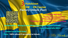 3 Hutchison Sweden Carrier All iPhones Factory Unlock Service(fast). Clean IMEI