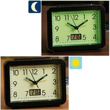 Wecker nachtleuchtend Nachtlicht Reisewecker Uhr mit Thermometer + Batterie NEU