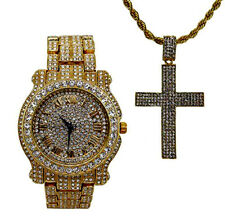 Hip Hop Ice'd Out Dog Tag Cross Pendent on Gold Tone Necklace with Bling Watch
